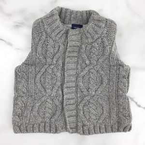 Baby Gap Gray Cableknit Sweater Vest Wool
